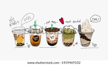 Bubble tea cup design collection,Pearl milk tea , Yummy drinks, coffees and soft drinks with doodle style banner . - Vector