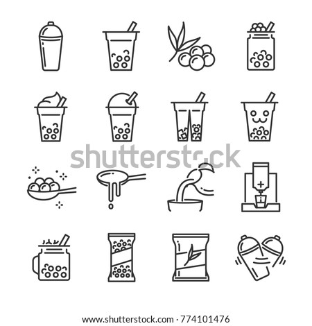 Bubble tea icon set. Included the icons as bubble, milk tea, shake, drink, pouring, boba juice and more.