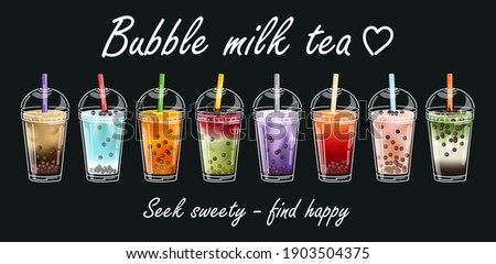 Bubble Tea milk. Cocktail collection. Yummy drinks, coffees and soft drinks with logo and doodle style advertisement banner. Bubble tea vector illustration. Drink set.