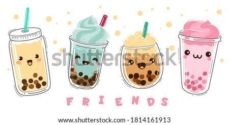 Bubble tea. Popular milk tea with tapioca, modern taiwanese pearl dessert balls in liquid. Boba drink in plastic cups with emotions, smiling faced characters, green and fruit tea cartoon vector set