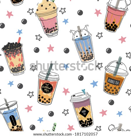 Bubble tea seamless pattern. Popular asian cold drink, pearl milk tea, trendy breakfast taiwanese boba tea with tapioca balls design vector texture. Plastic mug with straw for beverage