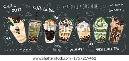 Bubble tea Special Promotions design, Pearl milk tea , Yummy drinks, coffees and soft drinks with logo and doodle style advertisement banner. Vector illustration.