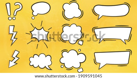 bubble text box for comic with yellow wall texture background, various shapes of flat empty bubble abstract icons. elements for posters, cards, banners, flyers. Zdjęcia stock ©