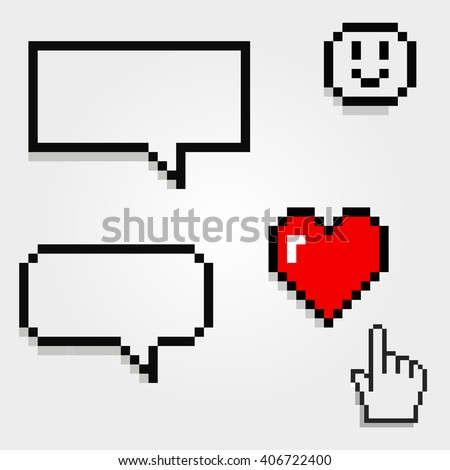 Bubble words and talk with hearts and smile. Valentines icon.