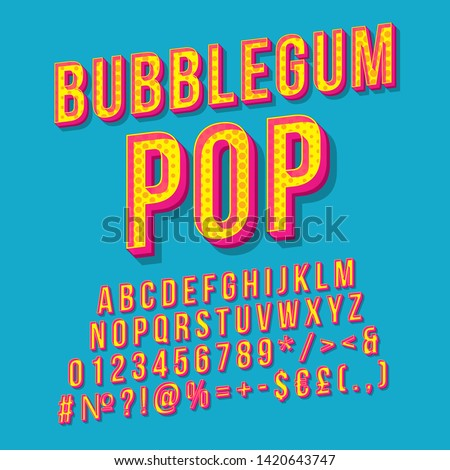 Bubblegum pop vintage 3d vector lettering. Retro bold font, typeface. Pop art stylized text. Old school style letters, numbers, symbols, elements. 90s, 80s poster, banner. Azure color background