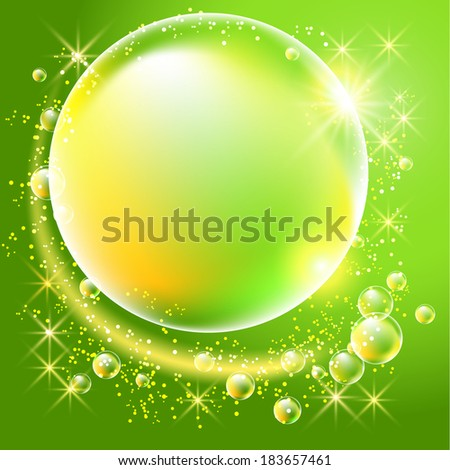 Bubbles and stars on green background