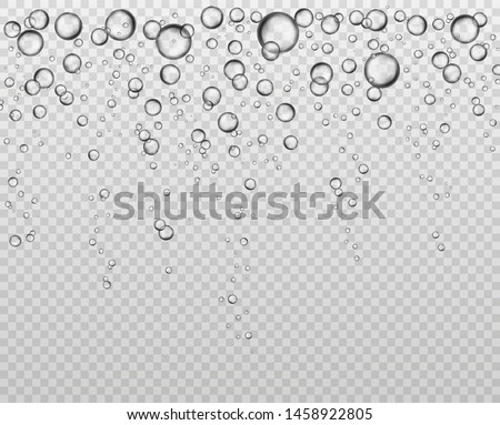 Bubbles at water surface. Fizzy underwater texture, soda bubble flow. Bubbling champagne air sparkles close up isolated vector set for bubbly liquid clear background