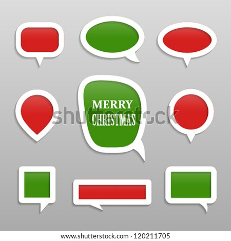 Bubbles for speech merry christmas collection. Vector illustration.