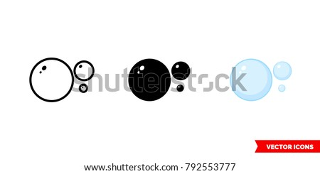 Bubbles icon of 3 types: color, black and white, outline. Isolated vector sign symbol.