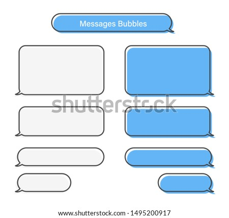 Bubbles messages chat speech vector isolated. Sms or mms bubble text. Communication elements. EPS 10