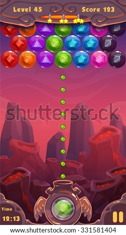 Bubbles shooter game screen, vector ui elements and cartoon vertical background  for game design