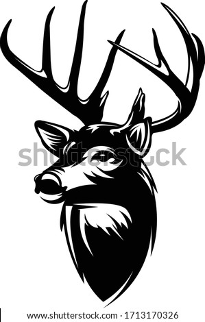 Buck Deer Logo, Awesome & Simple Vector of Buck Deer, Great for your Hunting Logo, Decal & Stickers.
