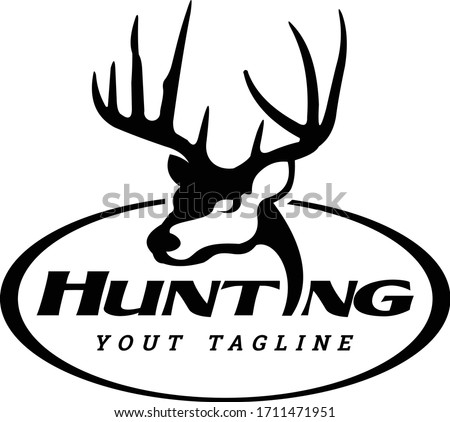 Buck Hunting Logo,Unique Simple & Elegant LineAart Head of Buck, Great for Your Hunting Decals, Sticker & Logo Template.