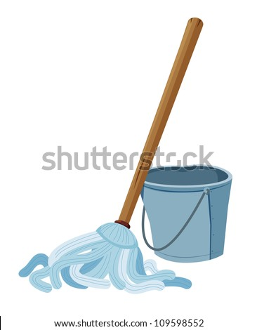Bucket and mop vector