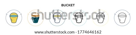 bucket icon in filled  thin