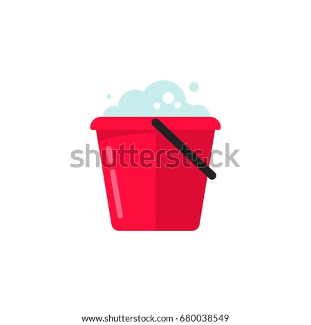 Bucket of water icon vector isolated, flat cartoon pail or bucketful with foam and bubbles