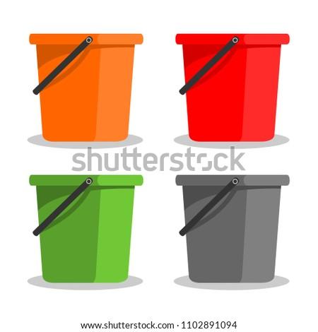 bucket of water icons vector.