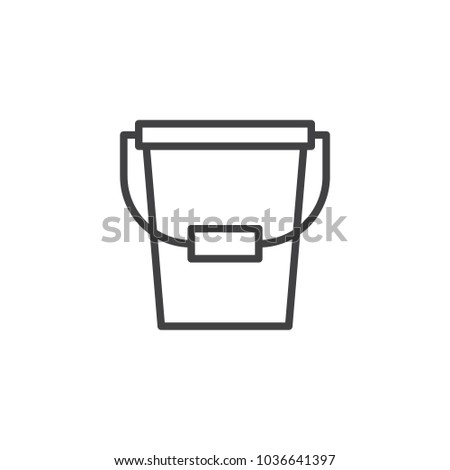 Bucket outline icon. linear style sign for mobile concept and web design. Pail simple line vector icon. Symbol, logo illustration. Pixel perfect vector graphics