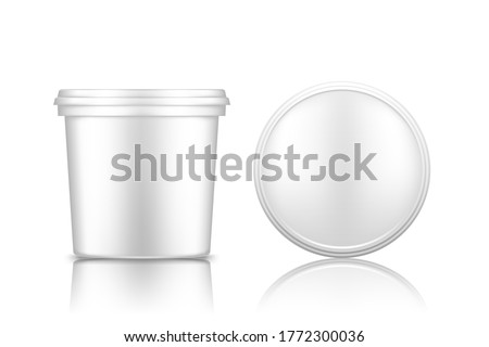 Bucket with cap top view mockup isolated on white background: ice cream, yoghurt, mayo, paint, or putty container. Plastic package design. Blank food or decor product template. 3d vector illustration Stockfoto ©