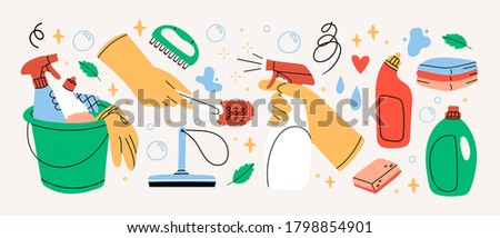 Bucket with cleaning supplies, bottles, spray, sponge, brush, gloves. Various Cleaning items. Housework concept. Hand drawn Vector illustrations. All elements are isolated Stock photo ©