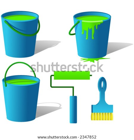 Bucket with paint