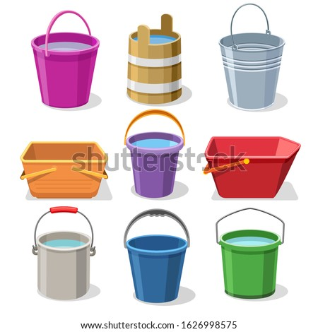 Buckets and pails. Steel and plastic bucket set for gardening, pail for kids, metal container for water and handles trash bin vector illustration ストックフォト ©