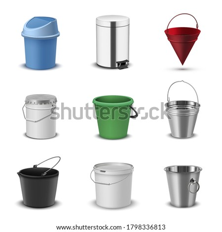 Buckets assortment, household plastic and metal packaging realistic set. Round container, swing-top rubbish bin, pail, stainless steel pedal kitchen trash can, conical fire bucket. Vector collection.