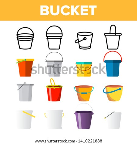 Buckets, Pails Vector Thin Line Icons Set. Buckets, Plastic, Metal Containers for Farming, Housework Tools, Equipment Linear Pictograms. Kids Toy for Sand Games on Beach Color Symbols Collection ストックフォト ©