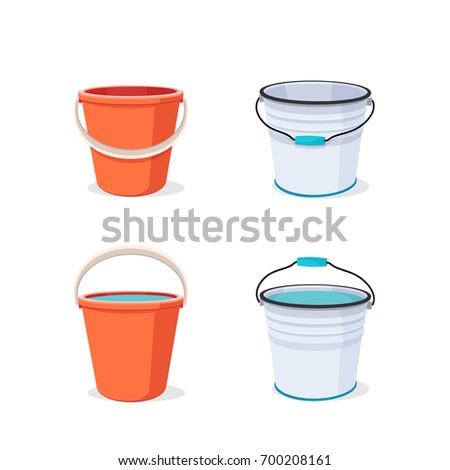 buckets set flat vector