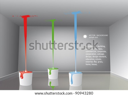 Buckets with a paint in the room,