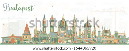 Budapest Hungary City Skyline with Color Buildings. Vector Illustration. Business Travel and Tourism Concept with Historic Architecture. Budapest Cityscape with Landmarks.