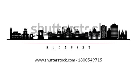 Budapest skyline horizontal banner. Black and white silhouette of Budapest City, Hungary. Vector template for your design.  Stock fotó ©