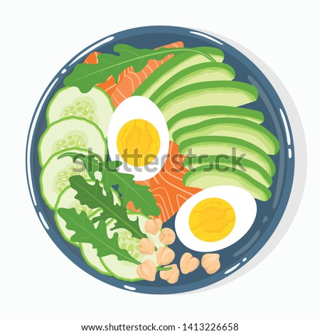 Buddha bowl with avocado, salmon, cucumber, boiled eggs, chickpeas, rucola, top view, isolated on background. Healthy clean balanced natural vegetarian detox meal. Vector illustration. Сток-фото ©