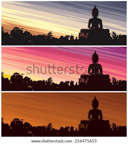 buddha dusk  buddha statue in