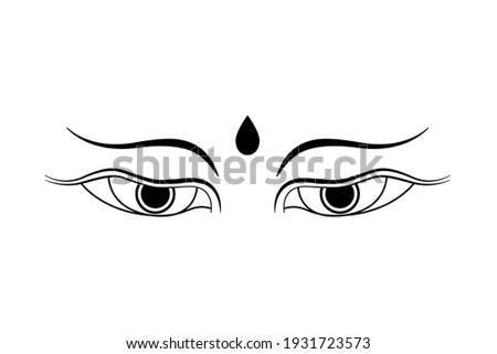 Buddha eyes symbol, icon, sign isolated on white background. Line art style buddhism concept design. Vector illustration
