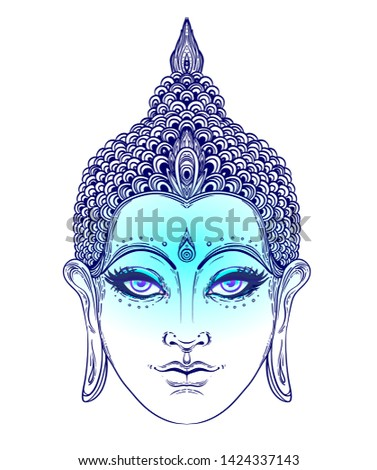 Buddha face. Esoteric vintage vector illustration. Indian, Buddhism, spiritual art. Hippie tattoo, spirituality, Thai god, yoga zen Coloring book pages for adults.