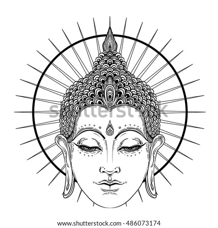 7fef91a27b62d Buddha face over ornate mandala round pattern. Esoteric vintage vector  illustration. Indian, Buddhism