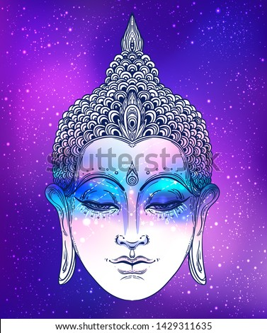 Buddha face over ostarry cosmic background. Esoteric vintage vector illustration. Indian, Buddhism, spiritual art. Psychedelic Poster, Hippie tattoo, spirituality, Thai god, yoga character.