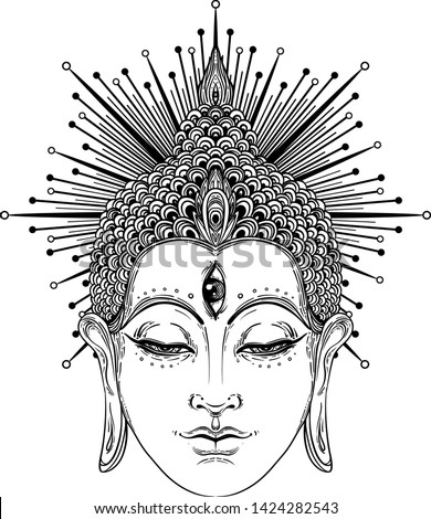 Buddha face over sacred geometry pattern. Esoteric vintage vector illustration. Indian, Buddhism, spiritual art. Hippie tattoo, spirituality, Thai god, yoga zen Coloring book pages for adults.
