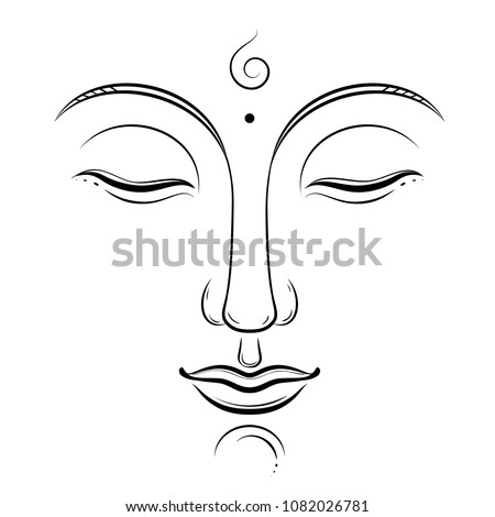 Buddha face vector art. Buddhism, yoga, sacred spiritual, zen ink drawing isolated on white
