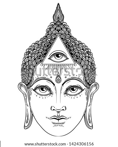 Buddha face with all seeing eye isolated on white. Esoteric vintage vector illustration. Indian, Buddhism, spiritual art. Hippie tattoo, spirituality, Thai god, yoga zen.