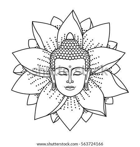 Buddha Head and Lotus isolated on white background. Sign for tattoo, textile print, mascots and amulets. Coloring page.