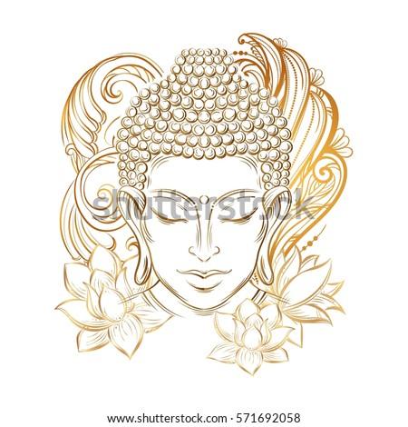 buddha head   elegant vector...