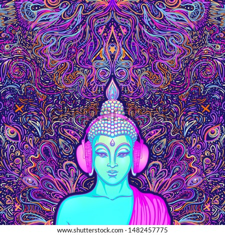 Buddha head over colorful neon background. Vector illustration. Psychedelic  mushroom composition. Indian, Buddhism, Spiritual Tattoo, yoga, spirituality. Sticker, patch, 60s hippie colorful art.