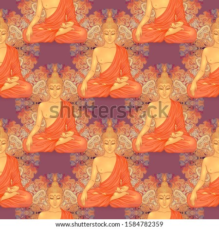 Buddha head seamless pattern. Vintage decorative composition. Indian, Buddhism, Spiritual esoteric motifs.  tattoo, yoga, spirituality. Vector illustration.
