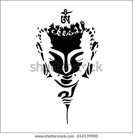 buddha head silhouette  drawing