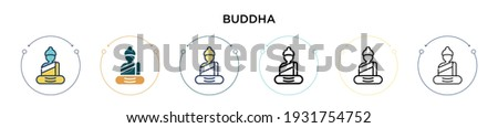 buddha icon in filled  thin