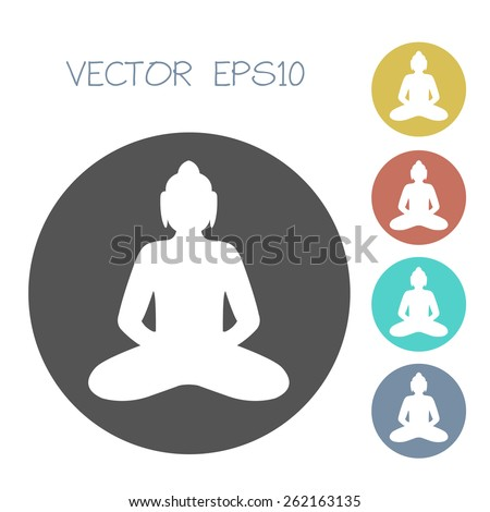 buddha icon set vector