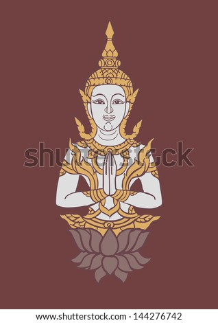 buddha image vector illustration