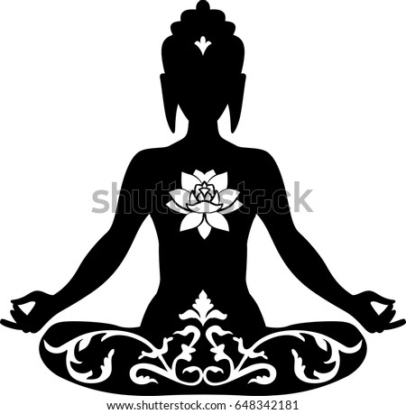 buddha lotus position - download free vector art, stock graphics